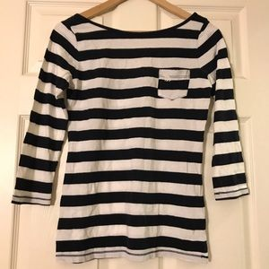 NWT A&F white and navy stripe long sleeve SMALL